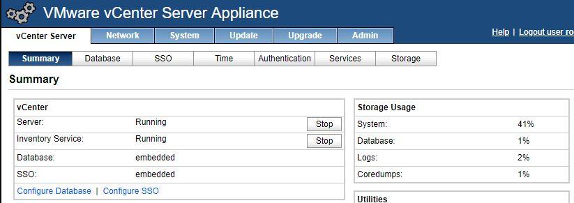 vmware vcenter configure page status