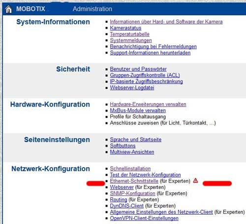 Mobotix Ethernet-Schnittstelle (für Experten)